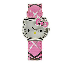 Hello Kitty Watch silver face yellow nose pink Pattern band