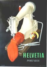 Original vintage poster HELVETIA PORTABLE SEWING MACHINE c.1940