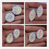 20PCS AB Clear Resin Rhinestones Flatback Beads Jewelry Garment Accessories DIY