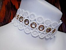 WHITE GEOMETRIC LACE CHOKER w/ GOLD EYELETS grommets necklace wheel wedding S1