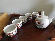Vintage Asian Stoneware Teapot - 5 Cups - and Tea pot- Hand Painted  - Japan