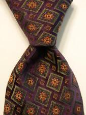 HICKEY FREEMAN Men's 100% Silk Necktie Designer Woven Geometric Purple/Green EUC
