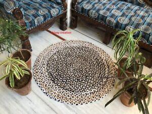 Rug Round Jute & Cotton 100% Natural Reversible Carpet Braided Modern Look Rug