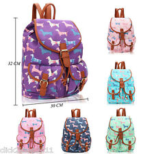 Dachshund Sausage Dog Canvas Backpack Rucksack School College Shoulder Bag