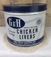 Vintage G & H Chicken Livers Tin Grimes Poultry Fredericksburg Lebanon PA