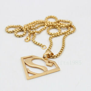 Superman hero charm Pendant Necklace stainless steel box chain 24inch