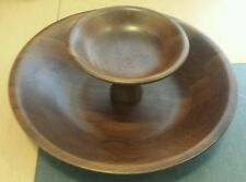 Vintage 60s walnut wood wooden platter/ 2 tier/ cheese and chip platter/ clean