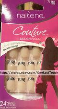 NAILENE* COUTURE 24 Glue-On Nails SILVER+BLACK ZEBRA Medium Length #71165 1/9