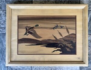 """Hudson River Inlay Signed Jeff Nelson """"Ducks In Flight"""" Wood Marquetry Art"""