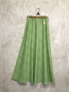 Vintage 1960's Green Check Maxi Skirt Size S