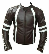 BROWN HONDA  MOTORBIKE LEATHER JACKET CE APPROVED