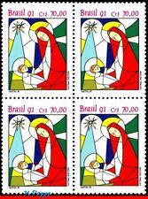 2343 BRAZIL 1991 CHRISTMAS, RELIGION, STAINED GLASS, MI# 2445, BLOCK MNH