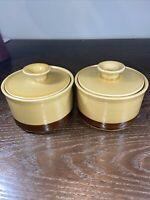 Vintage La Mesa Stoneware Sugar And Creamer two tone brown Japan