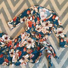 M New Bohemian Women's Teal Floral Prairie 90s Peasant Wrap Maxi Dress Medium