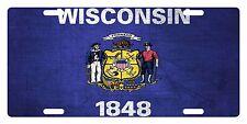 WISCONSIN STATE Flag Custom License Plate AMERICAN Emblem METAL Version