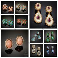925 Silver Women Turquoise Ear Hook Stud Dangle Drop Moonstone Sapphire Earrings