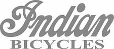 """INDIAN BICYCLE DIE CUT DECAL / STICKER - 8.5"""" X 3.75"""" - SET OF 2 - SILVER"""