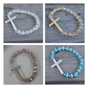 12 glass bracelet Baptism Communion wedding 15 party favor Blue pink clear black
