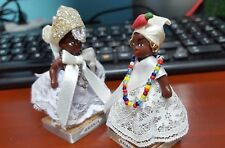 """Lot of 2 Jamaican black dolls hoop earrings white lace dress 3"""" ethnic cultural"""
