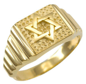Solid Gold Star of David Jewish Men's Ring