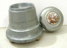 Vintage Musical Metal Trinket / Powder Box ~ Top Ceramic Insert