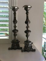 """Set Of 2 Tall Heavy Ornate Brass Silver Candle Stick Holder Floor Stand 22"""""""