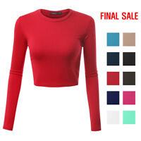[FINAL SALE]Doublju Basic Long Sleeve Crop Top For Women With Plus Size