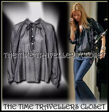 KATE MOSS TOPSHOP Charcoal Grey Silk Semi Sheer Self Striped Shirt Blouse UK14 +