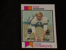 DAVE MANDERS 1973 TOPPS SIGNED AUTOGRAPHED CARD #526 DALLAS COWBOYS