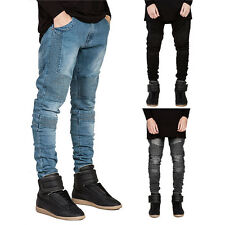 Herren Ripped Skinny Biker Jeans Destroyed Frayed Designed Slim Fit Denim Hose F