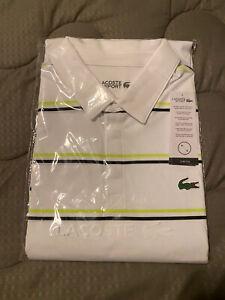 Lacoste Men's Sport Short Sleeve Performance Striped Golf Polo Brand New