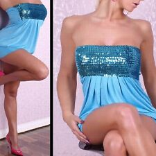 2288 - Blue sequin chest strapless stretch bandeau long top / mini dress 10/12