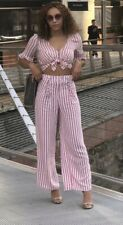 Zara Pink Stripe High Waisted Palazzo Trousers & Frill Top Co Ord- Large (12)