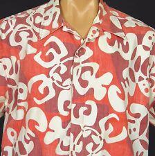 OP Hawaiian Beach Shirt Mens L Mod Stylized Petroglyph Turtle Print