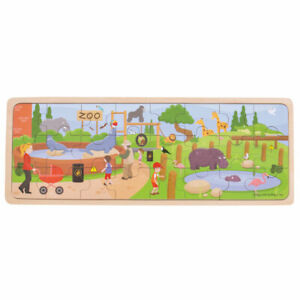 Bigjigs Toys Wooden At The Zoo Jigsaw Tray Puzzle Educational Kids Child
