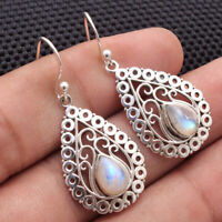 Natural Cab Moonstone Solid 925 Sterling Silver Artistic Jewelry Dangle Earrings