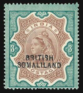 Somaliland 1903 QV 3r brown & green MVLH cat £140 ($165). SG 23. Sc 18.