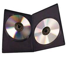 50 x Custodia di DVD DOUBLE 7mm spina dorsale Slim Nero Chiaro Manica Coperchio Anteriore Nuovo Regno Unito