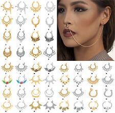 Bridal 76 species Ethnic Traditional Nose Chain Ring Indian Pierce Jewelry New