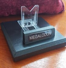 Megalodon Fossil Shark Tooth Stand 12cm square -  Black plaque. Hand made