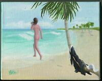 CARIBBEAN SEA ARTISTIC NUDE CONVENT NUN SWIMMING ROSARY BEADS PALM TREE PAINTING