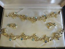 VTG Goldtone Corday Originals Blue Aurora Borealis Flower Bracelet Necklace Set