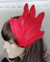 bright red feather fascinator millinery hair clip wedding piece ascot race dance