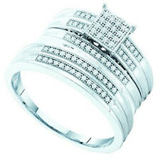 Mens/Ladies Diamond Trio Engagement Bridal Ring Set