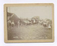 "21 APRIL 1896 CABINET PHOTO ""IN THE MUD"" TRAIN WRECK W/ SPECTATORS"