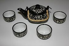 Chinese Black tea set w/ white calligraphy characters, 8 Oz Teapot, 2 Oz Teacup