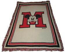 """Mickey Mouse Blanket Throw Large M Mickey Head 72"""" x 49"""" Disney Fringed Tapestry"""