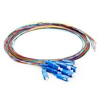 2M 12 Fibers SC/UPC Single mode Color-Coded Fiber Optic Pigtail,Unjacketed -7453