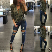 Fashion Women Long Sleeve Shirt V-Neck Slim Casual Blouse Camouflage Top T Shirt