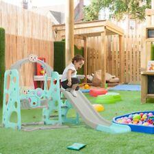 Toddler Kids In/Outdoor playground Garden Swing Slide Play Set W/Basket Yard Toy